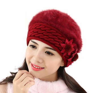 CUTUDU Fashion Womens Flower Knit Crochet Beanie Hat Winter Warm Cap Beret New Slouch Baggy Soft Scarf Headwrap Turban (A-Gray One Size)