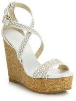 Jimmy Choo Portia Woven Fabric & Cork Platform Wedge Sandals
