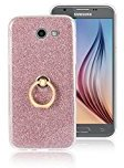 Moonmini Samsung Galaxy J7 (2017). Case Cover Sparkling Slim Fit Soft TPU Back Case Cover with Ring Grip Stand Holder 2 in 1 Hybrid Glitter Bling Bling TPU phone Case Cover (Pink)