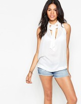 Free People Front Tie Sleeveless Blouse In White