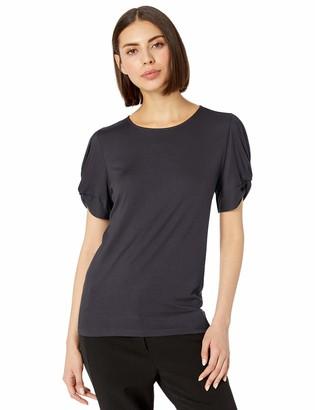 Lark & Ro Amazon Brand Women's Crew Neck Twist Detail Short Sleeve Knit Top