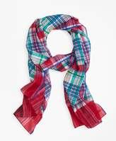 Brooks Brothers Madras Cotton Gauze Oblong Scarf