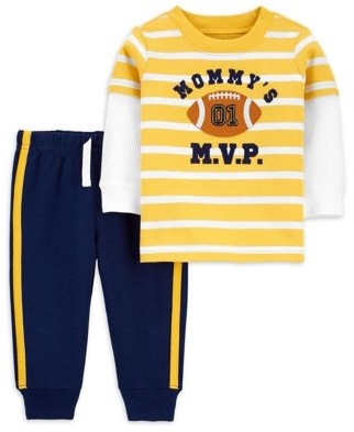 Child of Mine by Carter's Toddler Boy Longsleeve T-shirt & Jogger Pant, 2pc Outfit Set