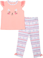 Cutie Pie Baby Pink Cat Top & Geometric Pants