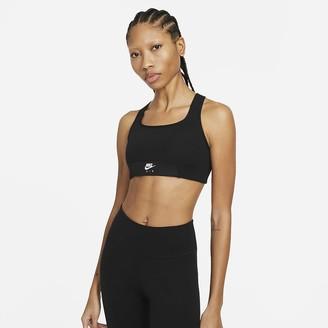 Nike Women's Medium-Support 1-Piece Pad Keyhole Sports Bra Dri-FIT Swoosh