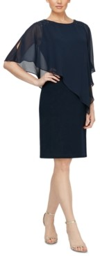 SL Fashions Embellished Overlay Shift Dress
