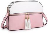 Dasein Women's Handbags WHITE/PINK - White & Pink Tassel-Accent Crossbody Bag