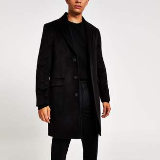 River Island Mens Black shawl collar overcoat
