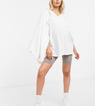 ASOS DESIGN Maternity mix & match co-ord basic legging shorts in mushroom