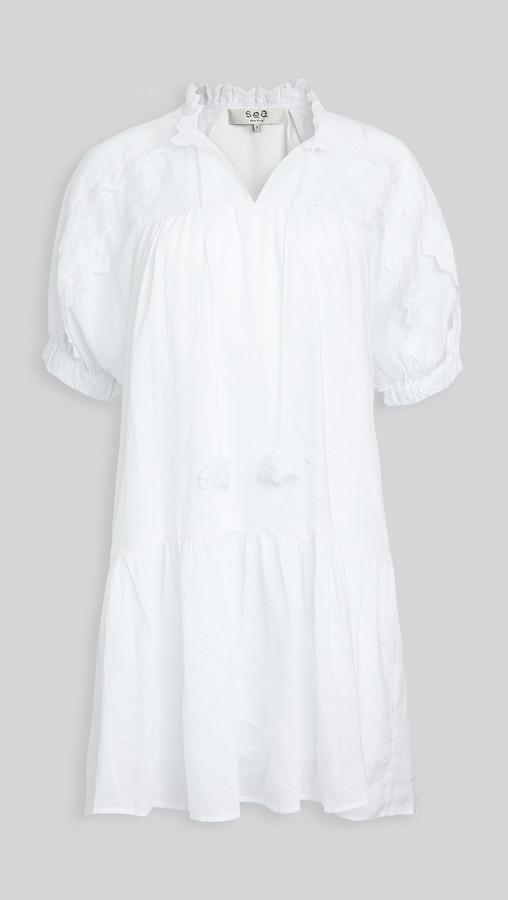 Sea Zigzag Ramie Raglan Sleeve Dress