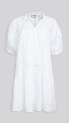 Sea Zigzag Ramie Raglan Sleeve Dress
