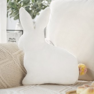 "Phantoscope Kids Pillow Rabbit Shape with Pom Pom Soft Plush Series Decorative Throw Pillow, 12"" x 16"", White, 1 Pack"