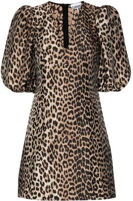 Ganni Leopard-Print Mini Dress
