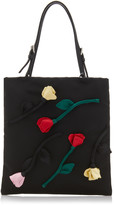 Prada Flower Embellished Tessuto Mini Top Handle Bag