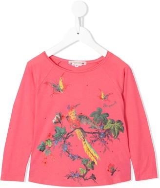 Bonpoint bird print long-sleeved T-shirt