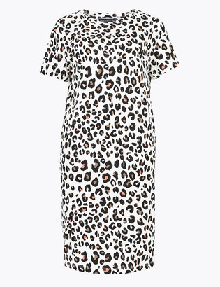 Marks and Spencer Pure Cotton Animal Print Mini T-Shirt Dress