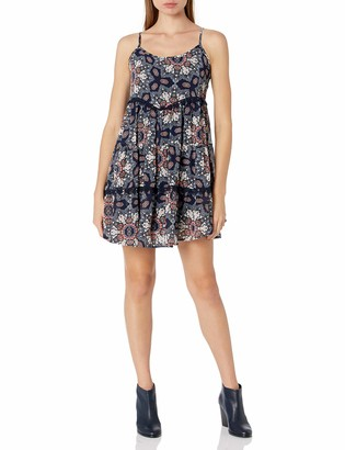 Taylor & Sage Women's Navy Large Print Spaghetti Strap Dress