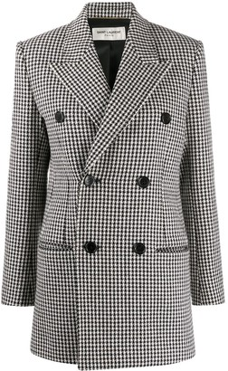 Saint Laurent Houndstooth Double-Breasted Coat