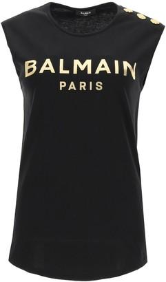 Balmain sleeveless t-shirt with golden logo