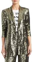 Alice + Olivia Jace Embellished Shawl Collar Oversized Blazer