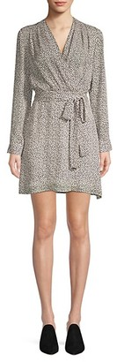 L'Agence Diego Heart Print Wrap Dress
