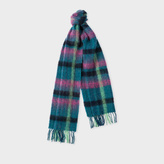 Paul Smith Women's Petrol Check Wool Scarf