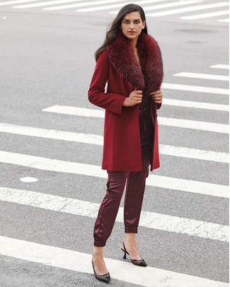 Fleurette Shawl-Collar Walker Coat with Frost Fox Fur Trim