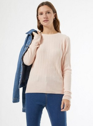 Dorothy Perkins Womens Pink Cash Cable Crew Neck Jumper, Pink