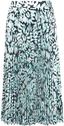 Milly Brushstroke Pleated Midi Skirt