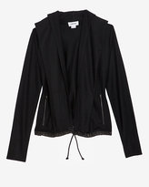 Helmut Lang Hooded Leather Trim Sweater Jacket
