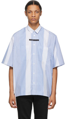 Givenchy Blue and White Stripe Oversized Short Sleeve Shirt