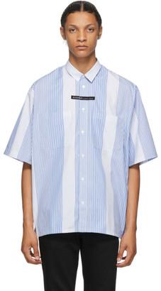 Givenchy Blue and White Stripe Oversized Short Sleeve Shirt