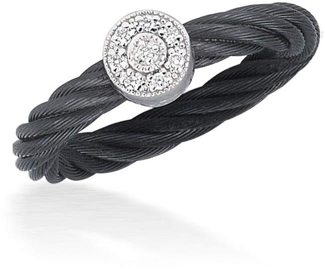 Alor Noir Black Cable Ring w/ Round Diamond Station, Size 6.5
