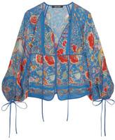 Roberto Cavalli Floral-print Silk-chiffon Blouse - Blue