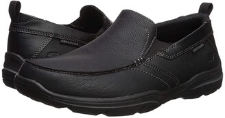 Skechers Relaxed Fit Harper - Forde (Black Leather) Men's Shoes