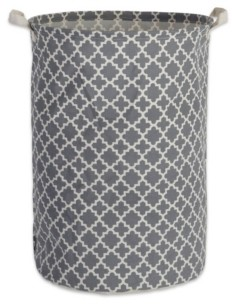 Design Imports Polyethylene Coated Cotton Polyester Laundry Hamper Lattice Round