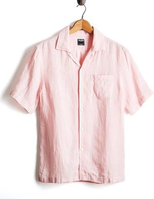 Todd Snyder Short Sleeve Linen Camp Collar Shirt in Pink