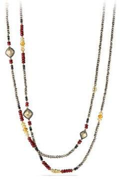 David Yurman Bijoux Bead Necklace With Pyrite, Garnet And Citrine In