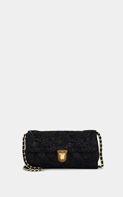 Prada WOMEN'S FLORAL BROCADE SHOULDER BAG - BLACK