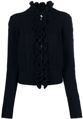 See by Chloe Ruffle-Trim Cable-Knit Cardigan