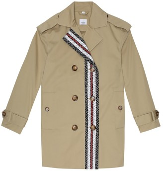 BURBERRY KIDS Monogram Stripe cotton trench coat