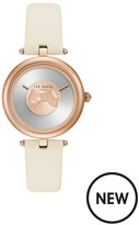 Ted Baker Bow Dial Rose Gold Tone Case Cream Leather Strap Ladies Watch