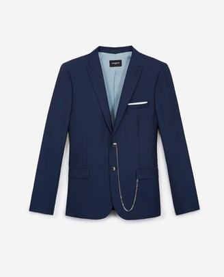 The Kooples Fitted formal navy blue jacket in wool