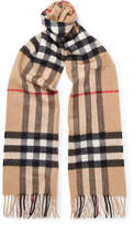 Burberry Checked Cashmere Scarf - Tan
