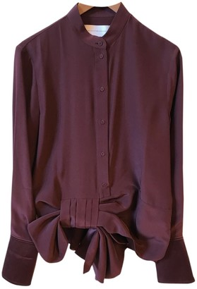 Victoria Victoria Beckham Burgundy Silk Top for Women
