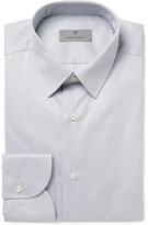Canali Grey Slim-Fit Striped Cotton Shirt