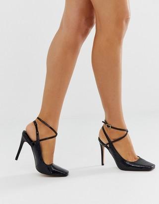 Asos Design DESIGN Priceless square toe stiletto heels in black snake