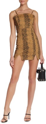 Wild Honey Snake Print Front Vent Mini Dress