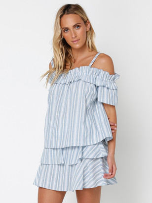 Glamorous Ra Ra Top in White Blue Stripe