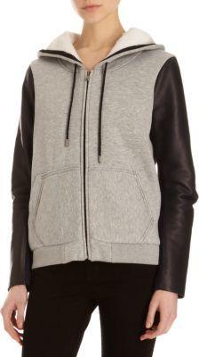 Leon Francis Leather Sleeve Hoodie